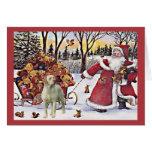 Tarjeta de Navidad del labrador retriever Santa Be