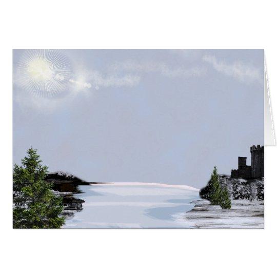 Tarjeta de Navidad del lago winter de la montaña