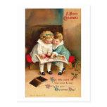 Tarjeta de Navidad del libro de lectura de los niñ Tarjetas Postales