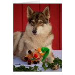 Tarjeta de Navidad del lobo
