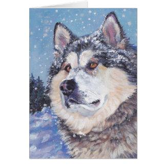 Tarjeta de Navidad del Malamute de Alaska