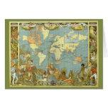 Tarjeta de Navidad del mapa de la antigüedad del