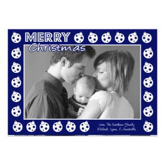 Tarjeta de Navidad del marco de Oranment (azules m Invitacion Personal