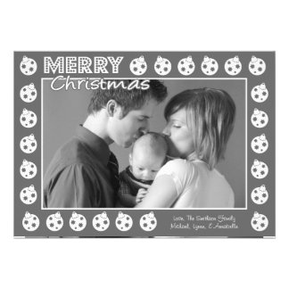 Tarjeta de Navidad del marco de Oranment (gris) Comunicados Personalizados