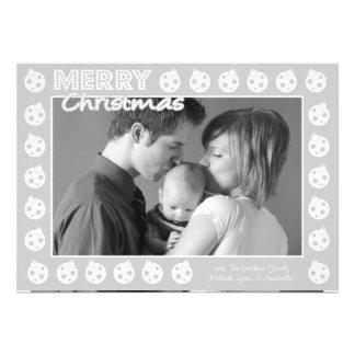 Tarjeta de Navidad del marco de Oranment (gris pla Invitación
