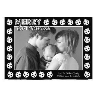 Tarjeta de Navidad del marco de Oranment (negro) Anuncio Personalizado