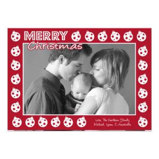 Tarjeta de Navidad del marco de Oranment rojo de Comunicado Personal