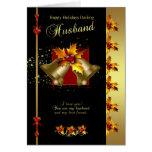 Tarjeta de Navidad del marido - acebo y Belces - e