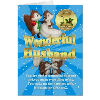 Tarjeta de Navidad del marido - ardillas del amor