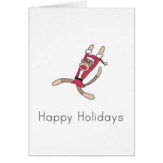 tarjeta de Navidad del mono del calcetín