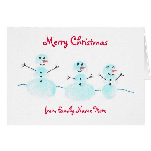 Tarjeta de Navidad del muñeco de nieve de la huell