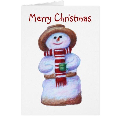 Tarjeta de Navidad del muñeco de nieve de la melco