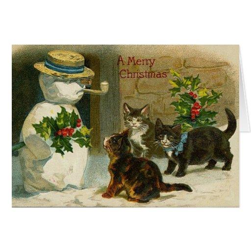 Tarjeta de Navidad del muñeco de nieve de los gati