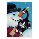 Tarjeta de Navidad del muñeco de nieve del gato y