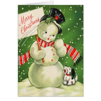 Tarjeta de Navidad del muñeco de nieve del vintage