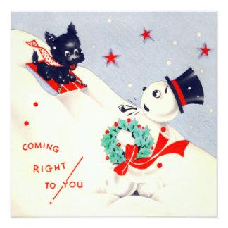 Tarjeta de Navidad del muñeco de nieve y del Invitación 13,3 Cm X 13,3cm