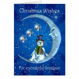 tarjeta de Navidad del nieto con el muñeco de niev