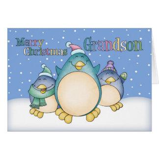 Tarjeta de Navidad del nieto con los pingüinos