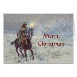 Tarjeta de Navidad del oeste vieja de see Santa de