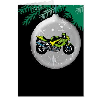 Tarjeta de Navidad del ornamento de la motocicleta