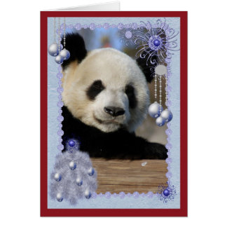 Tarjeta de Navidad del oso de panda gigante