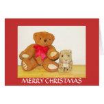 Tarjeta de Navidad del oso y del amigo de peluche