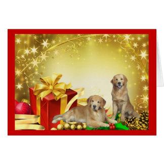 Tarjeta de Navidad del padre y del hijo del golden