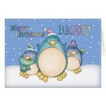 Tarjeta de Navidad del papá con los pingüinos