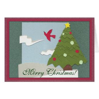 Tarjeta de Navidad del papel de pedazo