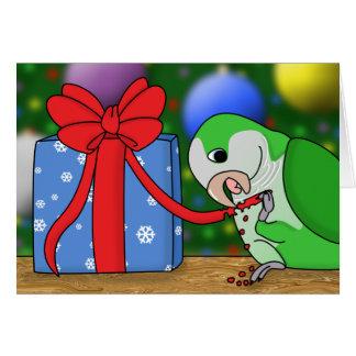 Tarjeta de Navidad del Parakeet del Quaker del día