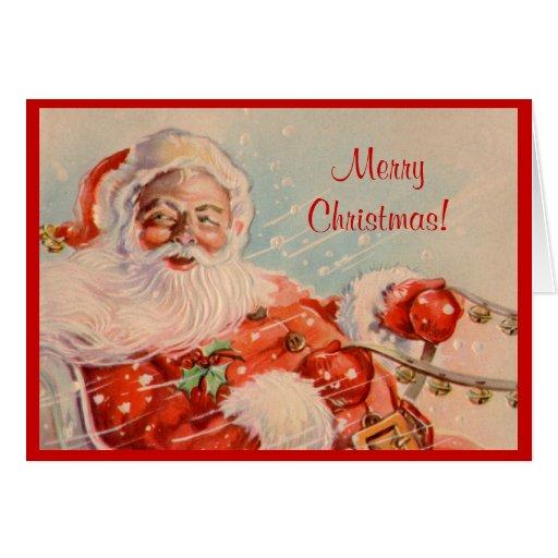 Tarjeta de Navidad del paseo del trineo de Santas