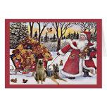 Tarjeta de Navidad del pastor alemán Santa Bears1