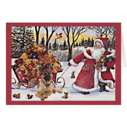 Tarjeta de Navidad del pastor alemán Santa Bears4