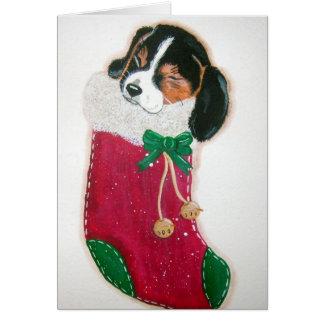Tarjeta de Navidad del perrito del beagle