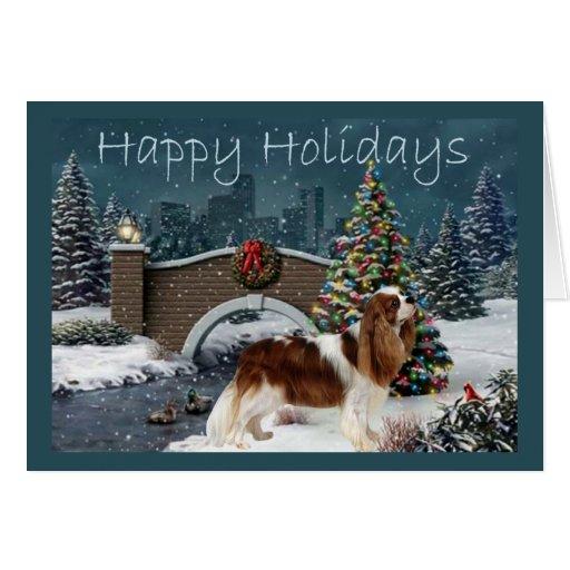 Tarjeta de Navidad del perro de aguas de rey Charl