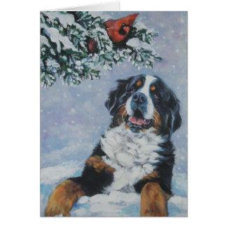 tarjeta de Navidad del perro de montaña bernese