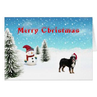 Tarjeta de Navidad del perro de montaña de Bernese