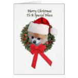 Tarjeta de Navidad del perro de Pomeranian de la s