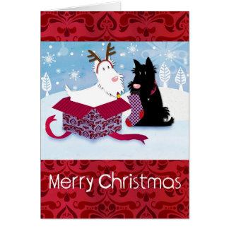 Tarjeta de Navidad del perro de Scotty