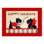 Tarjeta de Navidad del perro del escocés buenas fi