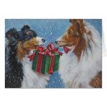 Tarjeta de Navidad del perro pastor de Shetland