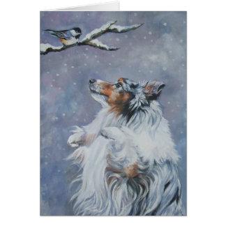 Tarjeta de Navidad del perro pastor de Shetland Sh