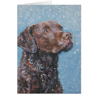 tarjeta de Navidad del perro perdiguero de bahía d