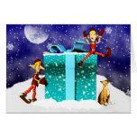 Tarjeta de Navidad del perro y del duende del boxe