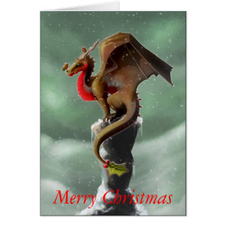 Tarjeta de Navidad del petirrojo del dragón