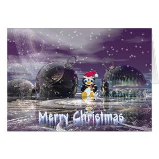 Tarjeta de Navidad del pingüino
