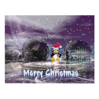 Tarjeta de Navidad del pingüino Postales