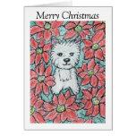 Tarjeta de Navidad del Poinsettia de Westie precio