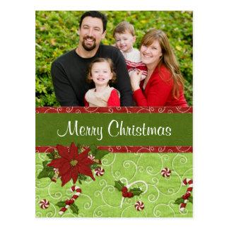 Tarjeta de Navidad del Poinsettia Postal