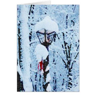 Tarjeta de Navidad del poste de la lámpara Nevado